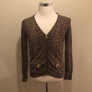 Michael Kors cheetah zip up cardigan